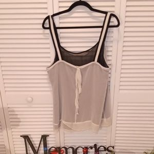 GAP tank. Double layer black and cream. Bow
